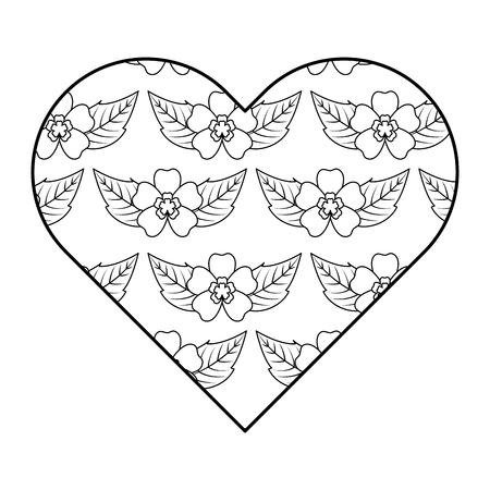 heart floral ornament pattern delicate seamless flower leaves vector illustration outline image