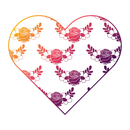 heart floral ornament pattern delicate seamless flower leaves vector illustration bright gradient color