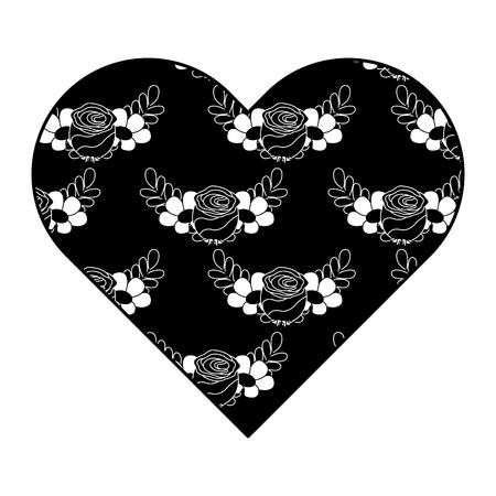 heart floral ornament pattern delicate seamless flower leaves vector illustration