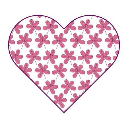 heart floral ornament flower stem spring decoration vector illustration pink image
