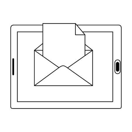 tablet device with envelope mail vector illustration design 向量圖像