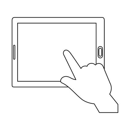 hands using tablet device vector illustration design