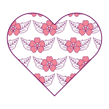 heart floral ornament pattern delicate seamless flower leaves vector illustration pink image Иллюстрация