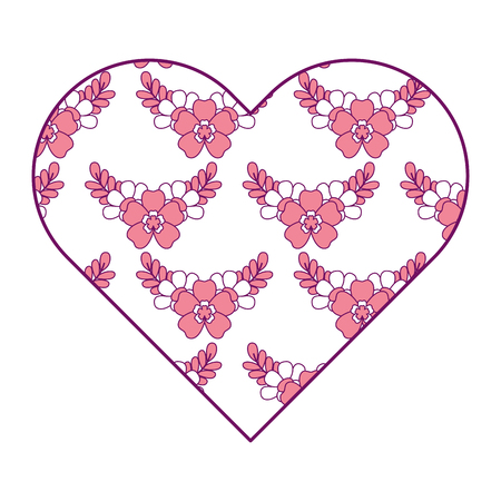 Heart floral ornament pattern delicate seamless flower leaves vector illustration pink image.