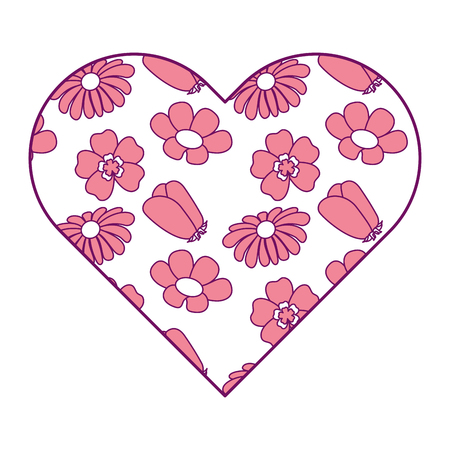 Heart floral ornament different flowers spring theme vector illustration pink image.