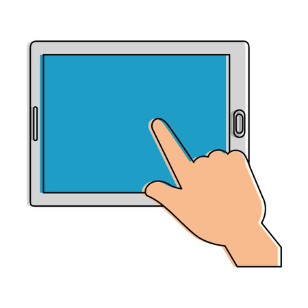 hands using tablet device vector illustration design