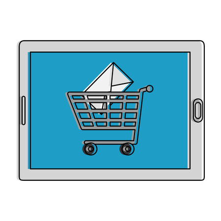 tablet device with shopping cart and email vector illustration design