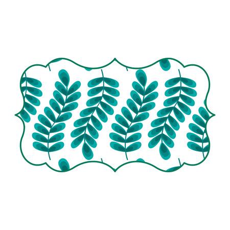 vintage label with pattern seamless branch spring natural vector illustration