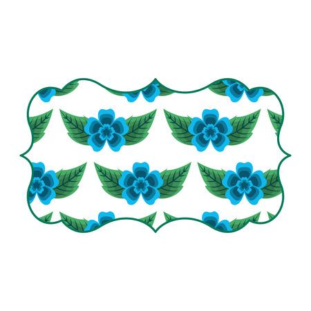 vintage label with pattern delicate seamless flower leaves vector illustration Illustration