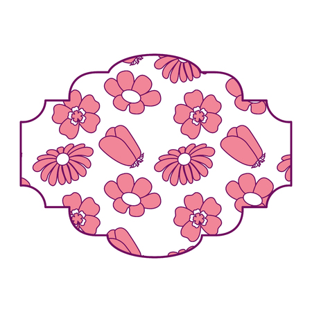 decorative label flowers pattern differents spring theme vector illustration pink image