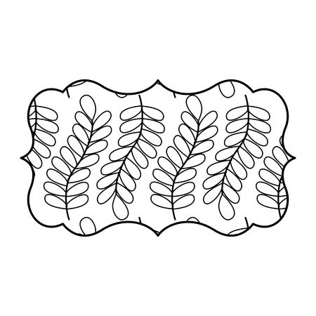 vintage label with pattern seamless branch spring natural vector illustration outline image Illustration