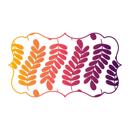 vintage label with pattern seamless branch spring natural vector illustration bright gradient color