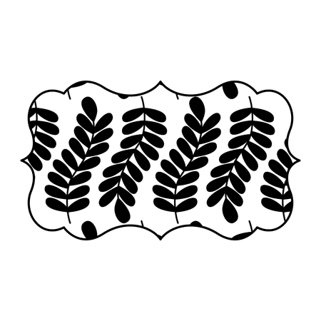 vintage label with pattern seamless branch spring natural vector illustration black and white design
