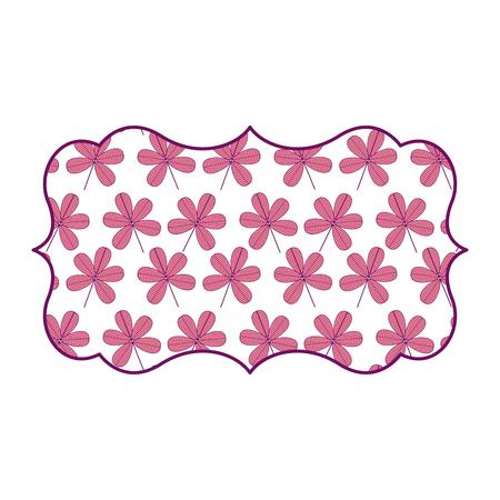 vintage label with flower stem spring decoration vector illustration pink image design