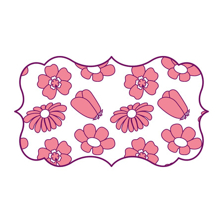 Vintage label with pattern different flowers spring theme vector illustration pink image design.
