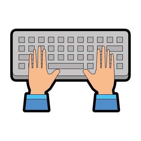 Computer keyboard with hands user vector illustration design.