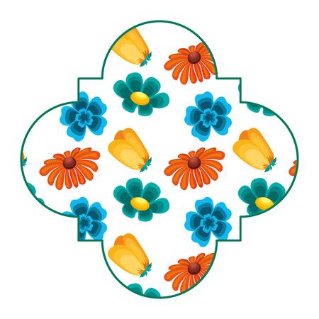 Leuke van het de lentethema van etiket bloemen verschillende bloemen vectorillustratie. Stock Illustratie