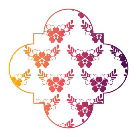 cute label floral delicate flower leaves ornament vector illustration bright color gradient