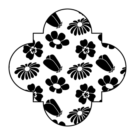 cute label floral differents flowers spring theme vector illustration black and white design