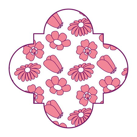 cute label floral differents flowers spring theme vector illustration pink image design