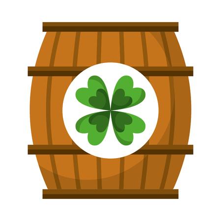 wooden barrel with clover concept vector illustration Illustration