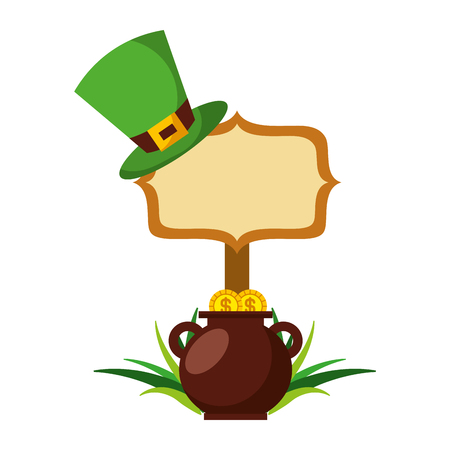 cauldron gold coins green hat and sing board vector illustration