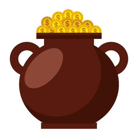 brown cauldron full gold coins treasure vector illustration