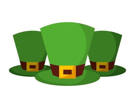 Set of green hat of leprechaun accessory vector illustration Ilustração