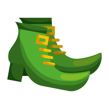 쌍 레프 러 콘 요정 벡터 일러스트 레이 션의 녹색 부팅 신발