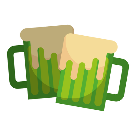 two green beer glass foam beverage vector illustration Illustration