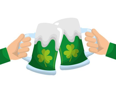 two hands holding green beer glass clover foam celebration vector illustration