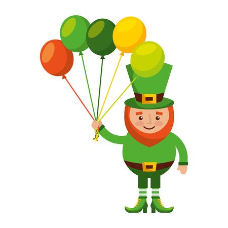 leprechaun character holding bunch of balloons celebration vector illustration Illustration