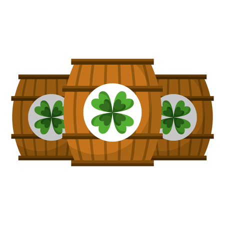 three wooden barrel sticker clover vector illustration