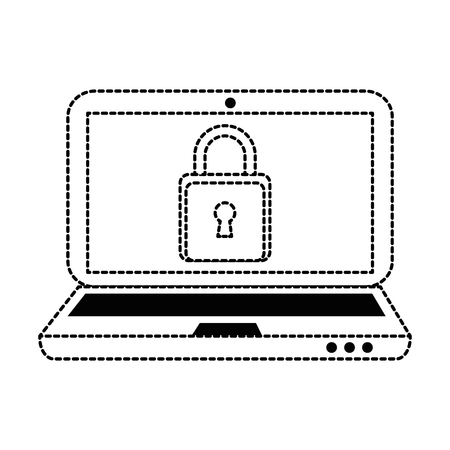 laptop computer with padlock vector illustration design