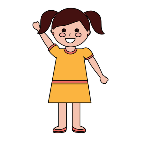 cute little girl happy character vector illustration