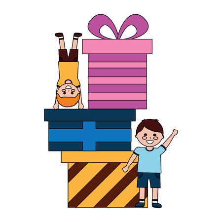 happy little boys with differents gift boxes celebration vector illustration Ilustrace