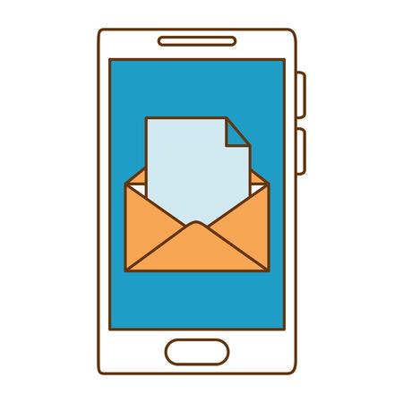 封筒メールベクトルイラストデザインのタブレットデバイス  イラスト・ベクター素材