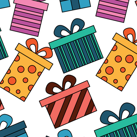 seamless pattern decoration celebration gift boxes vector illustration Stok Fotoğraf - 94477218