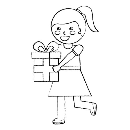 cute happy girl holding ribbon bow wrapped gift box vector illustration sketch design Çizim