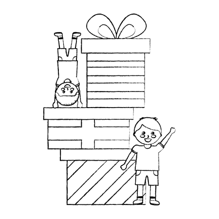 happy little boys with differents gift boxes celebration vector illustration sketch design