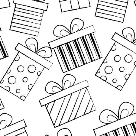 シームレスなパターンデコレーションお祝いギフトボックスベクトルイラストスケッチデザイン  イラスト・ベクター素材