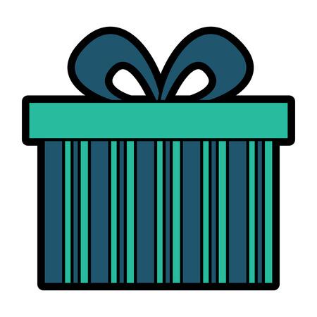 cute gift box wrapped ribbon bow vector illustration Illustration