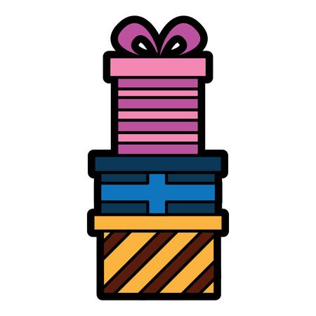 プレゼント色のギフトボックスパイルお祝いベクトルイラスト