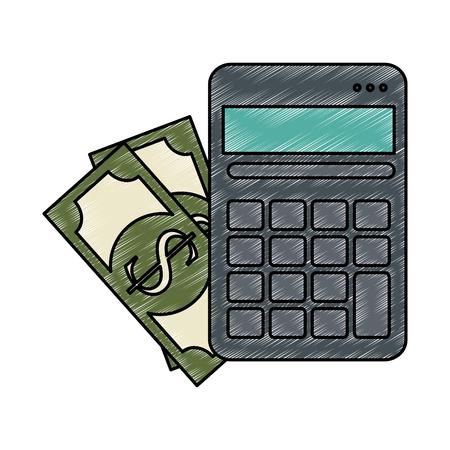 calculator device with bills vector illustration design Illustration