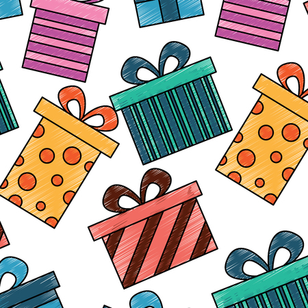 seamless pattern decoration celebration gift boxes vector illustration