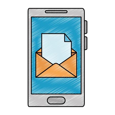 tablet device with envelope mail vector illustration design Иллюстрация