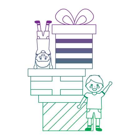 Happy little boys with different gift boxes celebration vector illustration color line gradient.