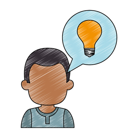 Young man with speech bubble and bulb avatar character vector illustration design.