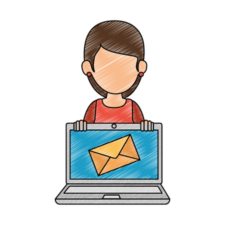 woman using laptop with envelope mail vector illustration design Illustration