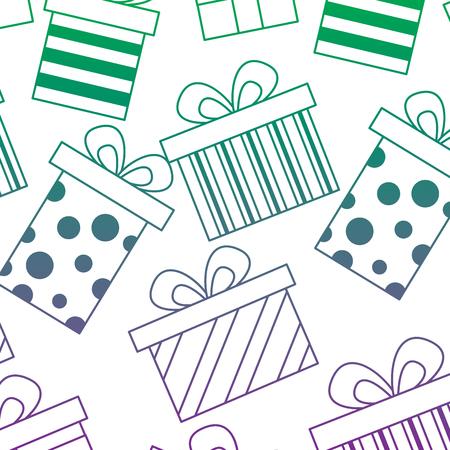 シームレスなパターンデコレーションお祝いギフトボックスベクトルイラストカラーライングラデーション  イラスト・ベクター素材